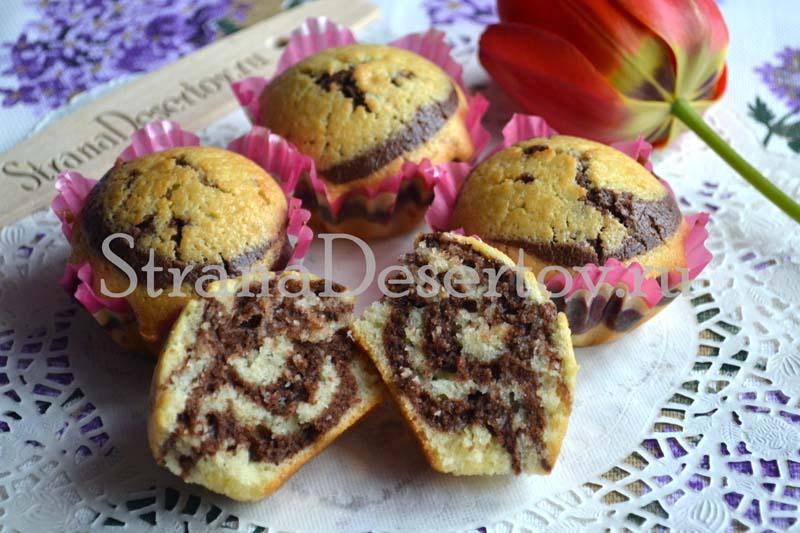 вкусные полосатые кексы
