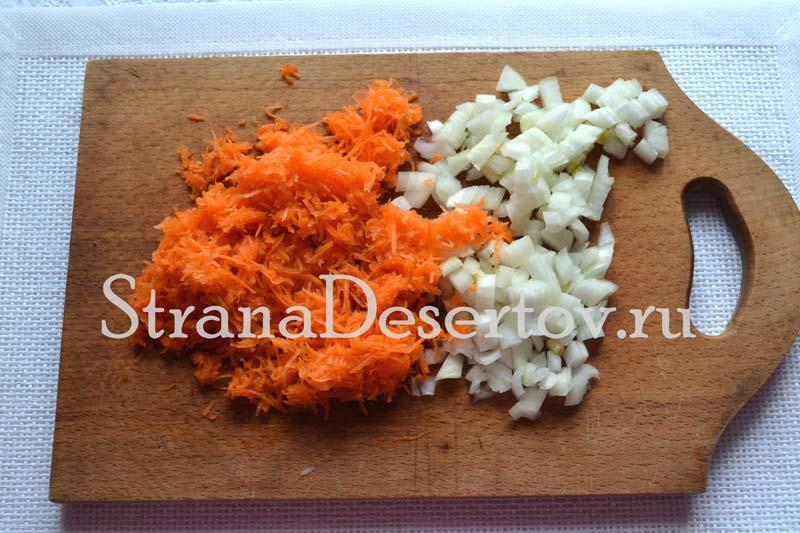 измельчение лука и моркови