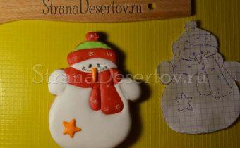 готовый пряник снеговик